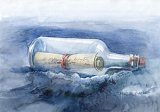 Bericht in een fles Stock Afbeelding
