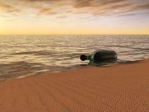 Bericht in een fles die bij de waterkant ligt. Stock Afbeeldingen