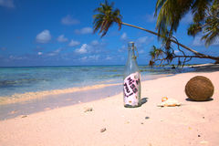 Bericht in een Fles II! Stock Foto