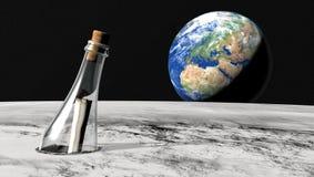 Bericht in een fles van de maan Stock Afbeelding