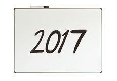 2017, bericht op whiteboard Stock Foto