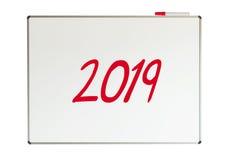 2019, bericht op whiteboard Stock Fotografie
