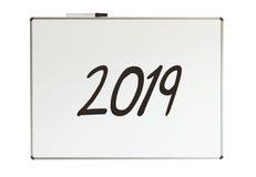 2019, bericht op whiteboard Royalty-vrije Stock Foto's