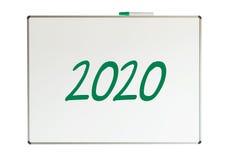 2020, bericht op whiteboard Stock Foto's