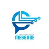 Bericht - vector het conceptenillustratie van het embleemmalplaatje Het creatieve teken van de toespraakbel Internet-praatjepicto vector illustratie