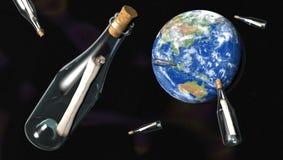 Berichten in flessen van ruimte Royalty-vrije Stock Foto's