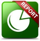 Berichten Sie über Diagrammikonengrün-Quadratknopf Stockbild