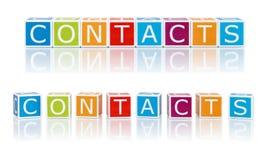 Berichten Sie über Themen mit Farbblöcken. Kontakte. stockfotos
