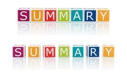 Berichten Sie über Themen mit Farbblöcken. Zusammenfassung. Stockbilder