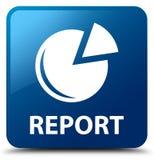 Berichten Sie (Diagrammikone) über blauen quadratischen Knopf Stockfoto