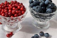 Beries rojos y azules en la taza de cristal en el paño orgánico fotografía de archivo
