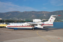Beriev Be-200. Gelendzhik, Russia - September 8, 2010: Beriev Be-200 amphibian cargo and firefighter plane is taxiing along the apron to the parking site Stock Images