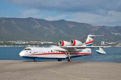 Beriev Be-200. Gelendzhik, Russia - September 8, 2010: Beriev Be-200 amphibian cargo and firefighter plane is taxiing from the ramp to the apron Stock Photography