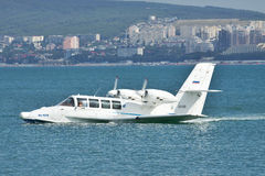 Beriev Be-103 sea plane. Gelendzhik, Russia - September 8, 2010: Beriev Be-103 sea plane on water surface in the port stock photography