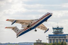 Beriev Be-200 on takeoff stock photography