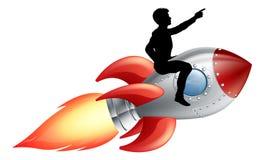 Berijdend de raketschip van de zakenman royalty-vrije illustratie
