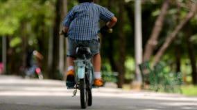 Berijdende fiets in het park stock videobeelden