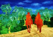 Berijdende paarden Stock Afbeelding