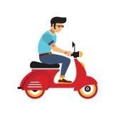 Berijdt de Hipster jonge mens met glazen een motor Vlakke stijlillustratie Royalty-vrije Stock Foto