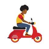 Berijdt de Hipster zwarte jonge mens een motor Vlakke stijlillustratie Royalty-vrije Stock Afbeelding