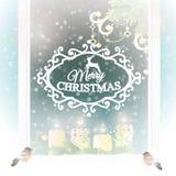 Berijpt venster met de decoratie van Kerstmis vector illustratie