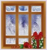 Berijpt venster met de doos van de Kerstmisgift, vector stock illustratie