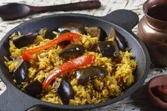 Beringela Biryani - um alimento indiano feito do arroz e da beringela Fotos de Stock