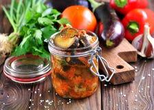Beringela cozido com cebolas, cenouras, tomates, alho e aipo Imagens de Stock Royalty Free