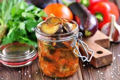 Beringela cozido com cebolas, cenouras, tomates, alho e aipo Imagens de Stock