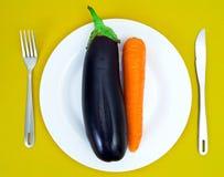 Beringela e cenoura Foto de Stock