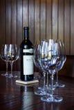 Beringer private reserve cabernet sauvignon. Napa, California - November 10: Bottle of Reserve Cabernet Sauvignon as a centerpiece for a private tasting room Stock Image
