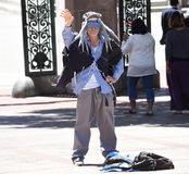 Berkeley Dude. On the UC Berkeley campus waving and trying to mental connect with passerby`s Stock Image