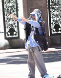 Berkeley Dude. On the UC Berkeley campus waving and trying to mental connect with passerby`s Stock Photos