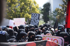 Berkeley Protests Against Fascism, razzismo e Donald Trump Immagine Stock Libera da Diritti