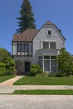 Berkeley Stucco Tudor. Exterior shot of a classic tudor home located in Berkeley Royalty Free Stock Photo