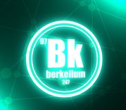 Berkelium chemical element. Sign with atomic number and atomic weight. Chemical element of periodic table. Molecule and communication background. Connected vector illustration