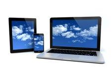 Beräknande begrepp för moln Arkivbild