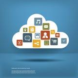Beräknande begrepp för moln med design för lägenhet för rengöringsduksymbolsuppsättning Arkivfoton