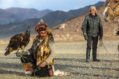 Berkutchi Eagle Hunter while hunting to the hare with a golden eagles on his arms in the mountains of Bayan-Olgii aimag. royalty free stock images