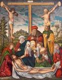 BERLÍN, ALEMANIA, FEBRERO - 16, 2017: La pintura de la deposición de la cruz en la iglesia Marienkirche Imagen de archivo