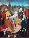 BERLÍN, ALEMANIA, FEBRERO - 16, 2017: La pintura de la deposición de la cruz en la iglesia Marienkirche fotografía de archivo