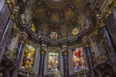 Berlín cathedral. Interior cathedral of Berlin golden altars Stock Photos