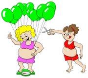 Überladene Frau listet eine Badezimmerwaage mit Ballonen über Lizenzfreie Stockbilder