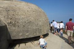 Überlebenbeobachtungsbunker bei Pointe du Hoc, Frankreich Stockfotografie