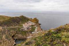 Berlengaseilanden, Portugal - Mei 21, 2018: Mening van hierboven bij Bairro-Dos Pescadores royalty-vrije stock fotografie