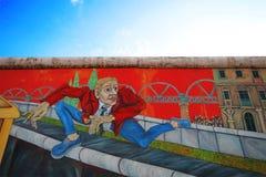 Berlińska ściana był chroniącym betonową przeszkodą który fizycznie i ideologicznie dzielący Berlin, Berlin, Niemcy, Europa Obrazy Stock