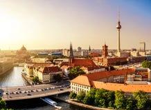 Berliński linia horyzontu zmierzch zdjęcie royalty free