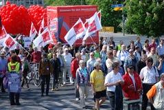 Berlijn, 1 Mei - Demonstratie op Meidag Stock Afbeelding
