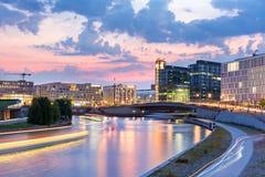 Berlijn bij nacht Stock Foto