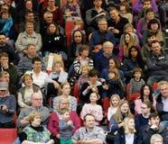 Berlijn, Duitsland, 21,2018 Januari: Publiek in een tribune bij een gebeurtenis in een zaal, redactie Royalty-vrije Stock Afbeeldingen